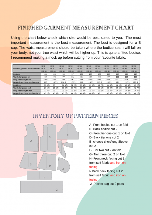 size chart, pattern inventory